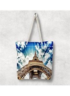 Else Halı Mavi Bulut Paris 3D Desenli Fermuarlı Kumaş Omuz Çantası
